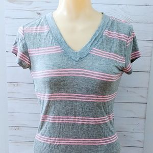 Hearts & Hips Striped Fitted Lightweight VNeck Tee